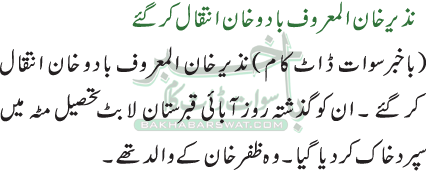 نذیر خان المعروف بادو خان انتقال کر گئے