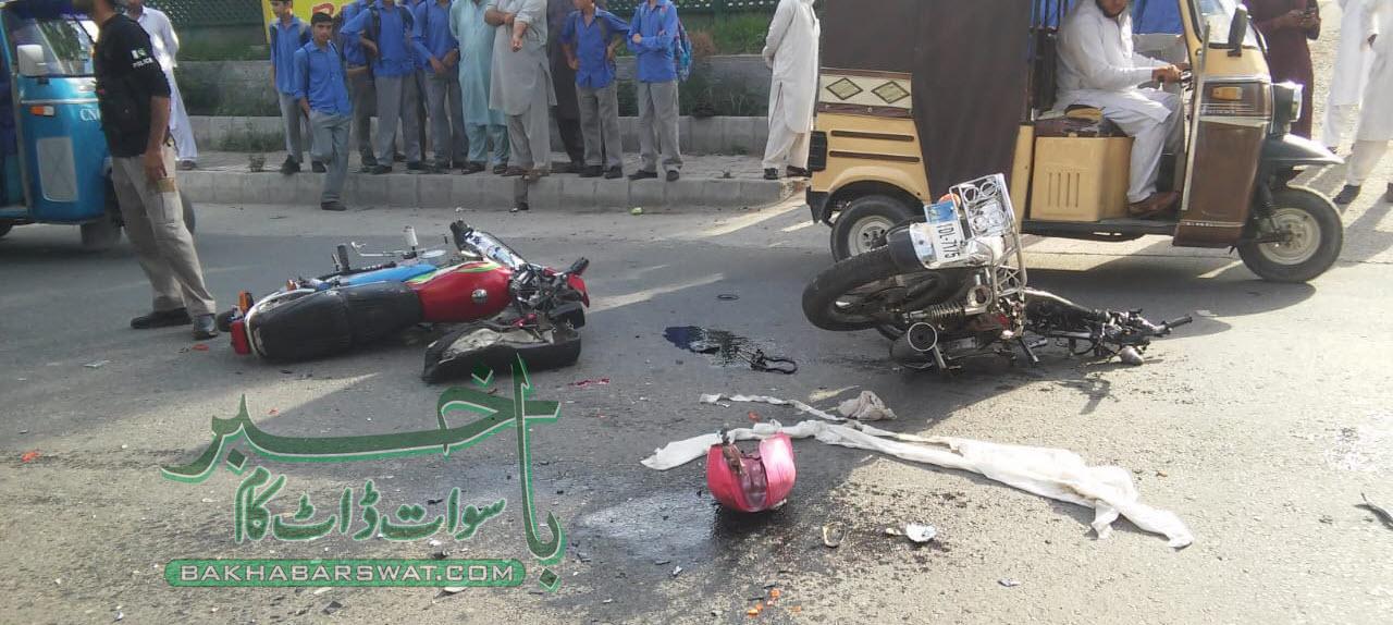 فیض آباد روڈ، دو موٹر سائیکلوں کے درمیان تصادم، دونوجوان زخمی