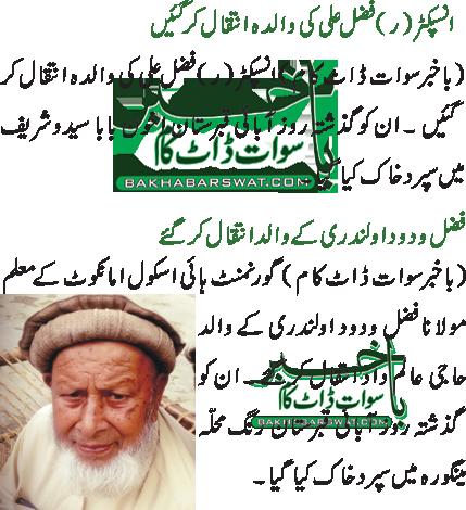 انسپکٹر (ر) فضل علی کی والدہ انتقال کر گئیں