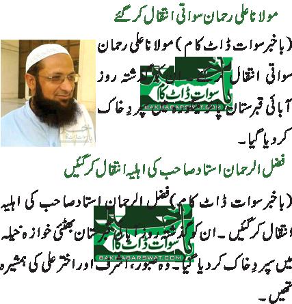 مولانا علی رحمان سواتی انتقال کرگئے/فضل الرحمان استادصاحب کی اہلیہ انتقال کر گئیں