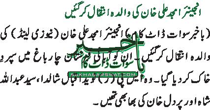انجینئر امجد علی خان کی والدہ انتقال کرگئیں